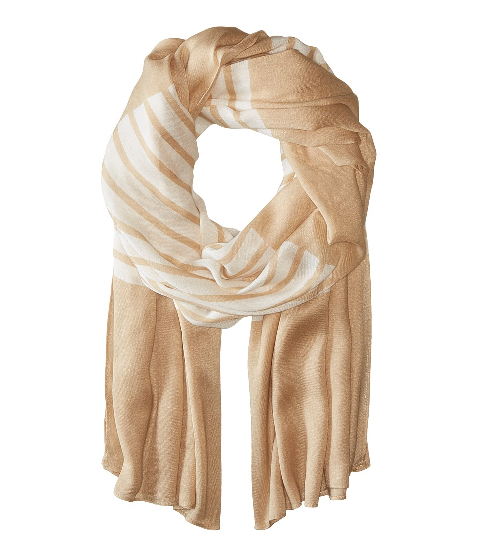 MICHAEL Michael Kors - Norwood Stripe Oblong (Sand/White) Scarves