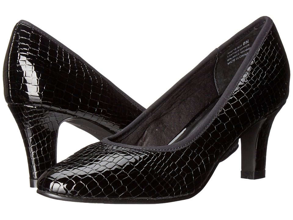 David Tate Peggy (Black Croc Patent Print) Women