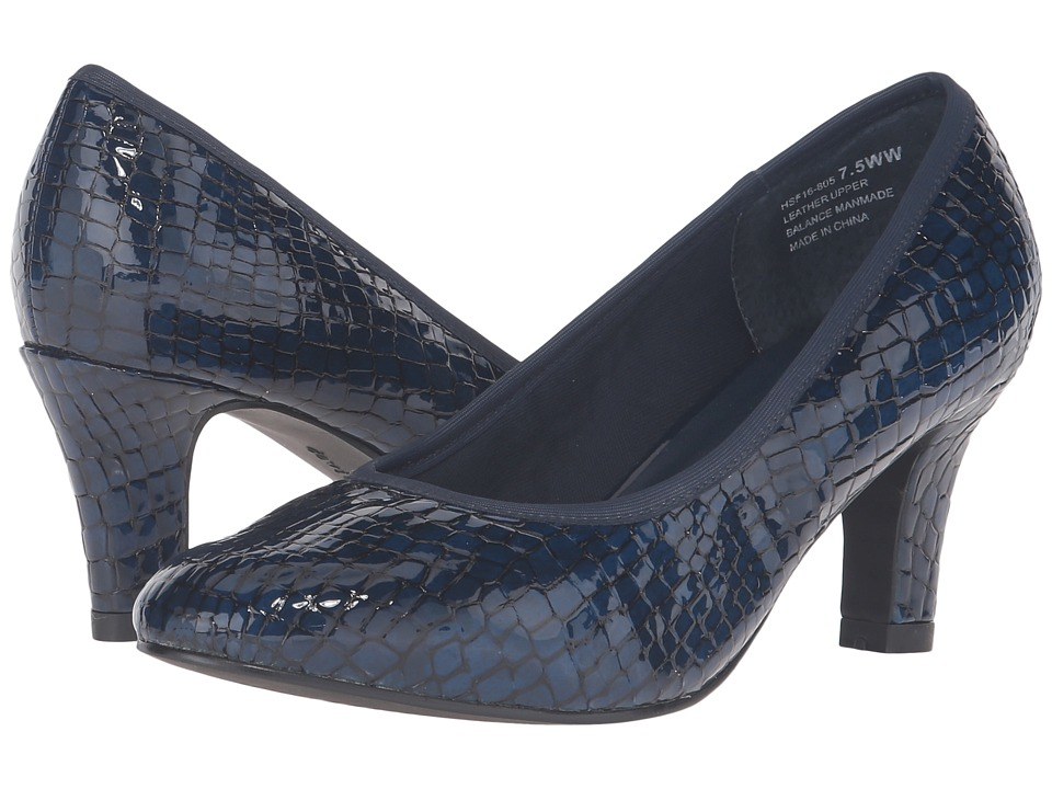 David Tate Peggy (Navy Croc Patent Print) Women
