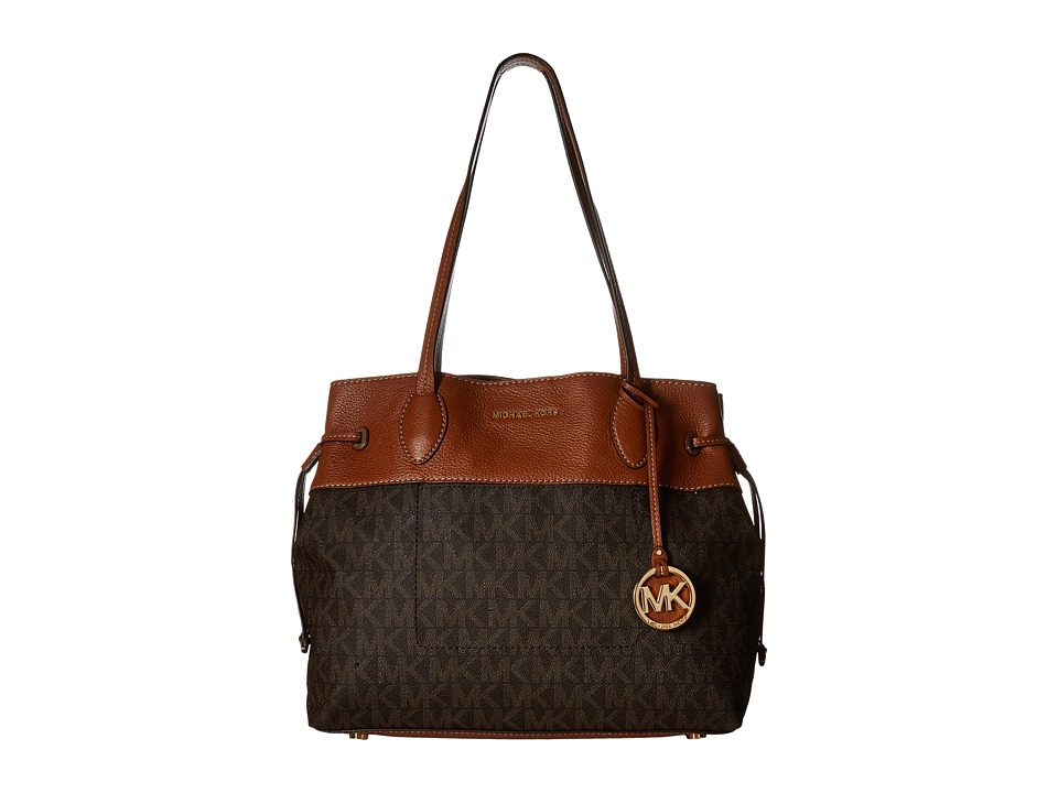 MICHAEL Michael Kors - Marina Large East/West Drawstring Tote (Brown) Tote Handbags