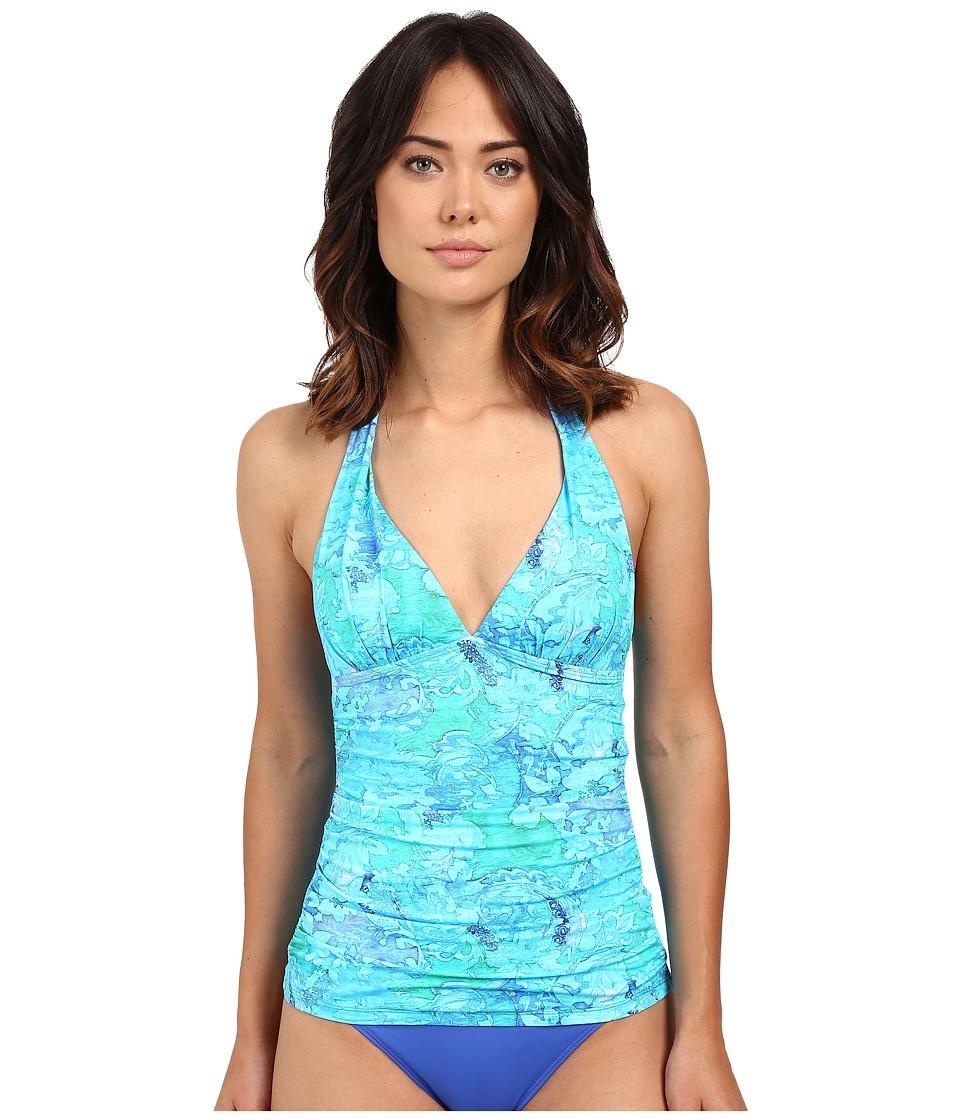 LAUREN Ralph Lauren Oceania Floral Halterkini w/ Molded Cup Slimming Fit (Blue Multi) Women