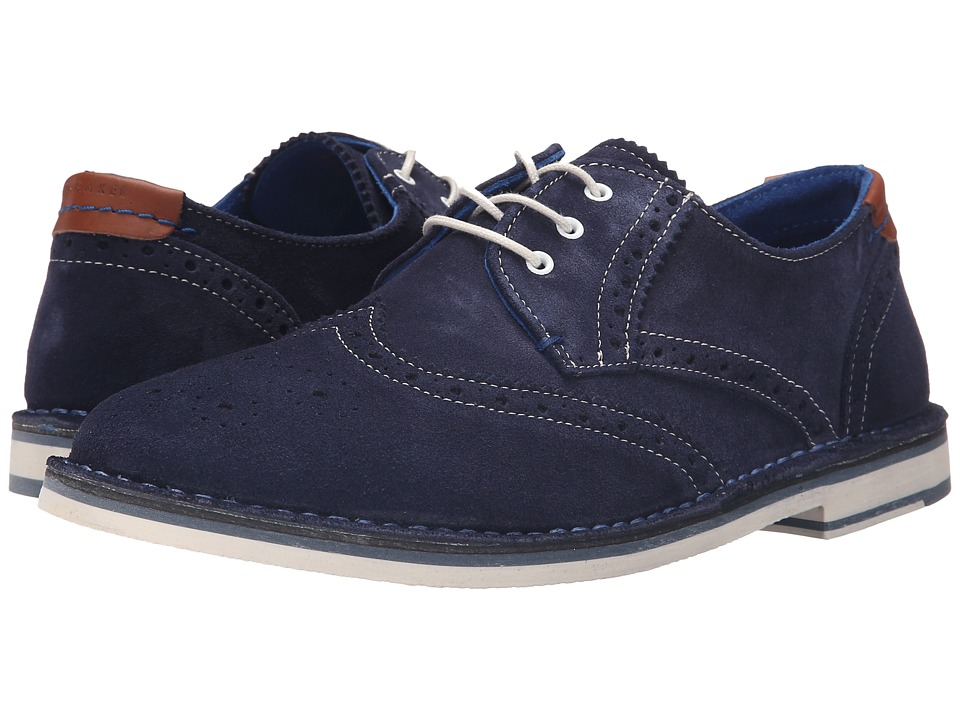 Ted Baker - Jamfro 7 (Dark Blue Suede) Men's Lace Up Wing Tip Shoes