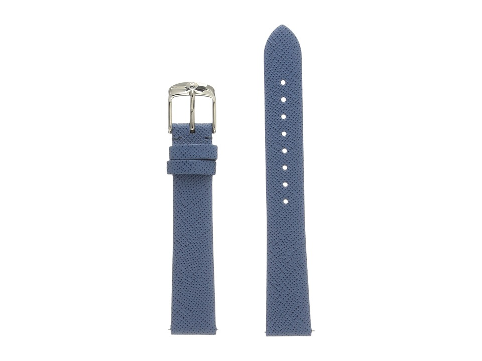 Michele - 16mm Strap Smokey Blue Thin Saffiano (Blue) Watches