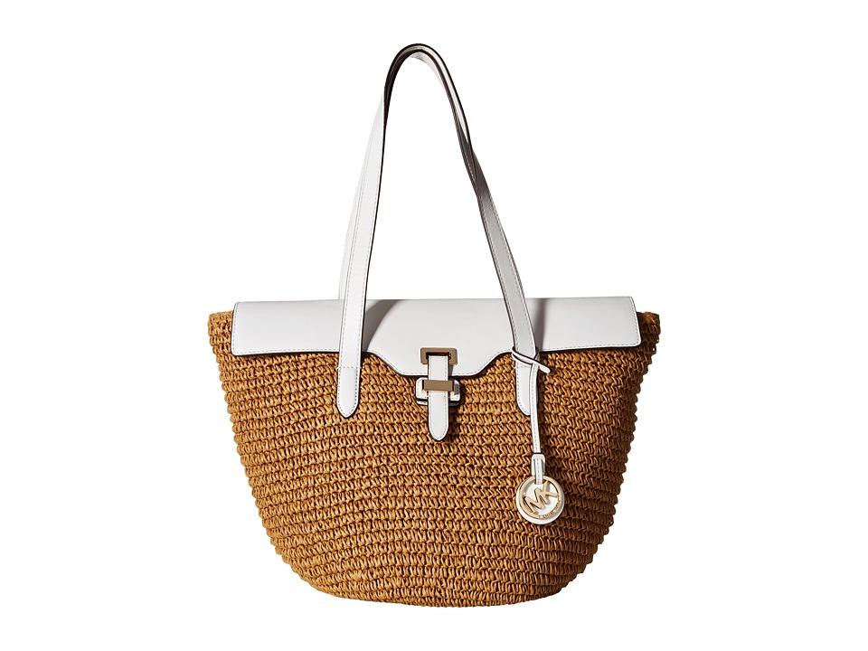 MICHAEL Michael Kors - Straw Naomi Large Tote (Optic White) Tote Handbags