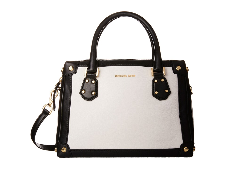 MICHAEL Michael Kors - Taryn Medium Satchel (White/Black) Satchel Handbags