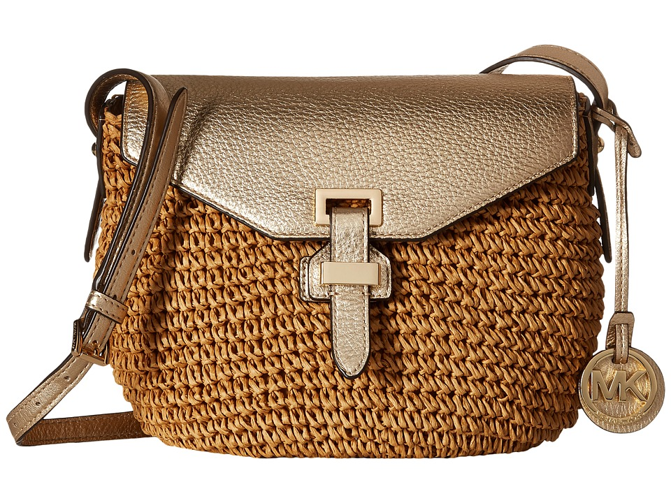 MICHAEL Michael Kors - Straw Naomi Medium Messenger (Pale Gold) Messenger Bags
