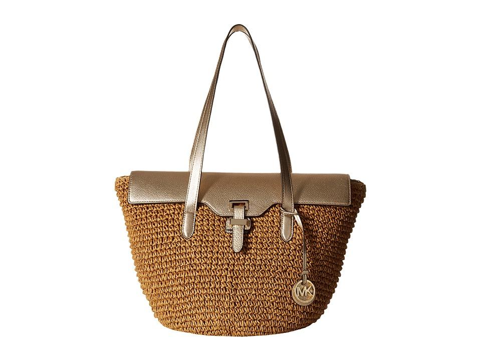 MICHAEL Michael Kors - Straw Naomi Large Tote (Pale Gold) Tote Handbags