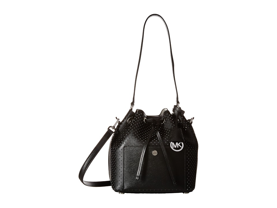 MICHAEL Michael Kors - Greenwich Medium Bucket Bag (Black/White) Cross Body Handbags