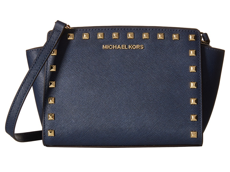 MICHAEL Michael Kors - Selma Stud Medium Messenger (Navy) Cross Body Handbags