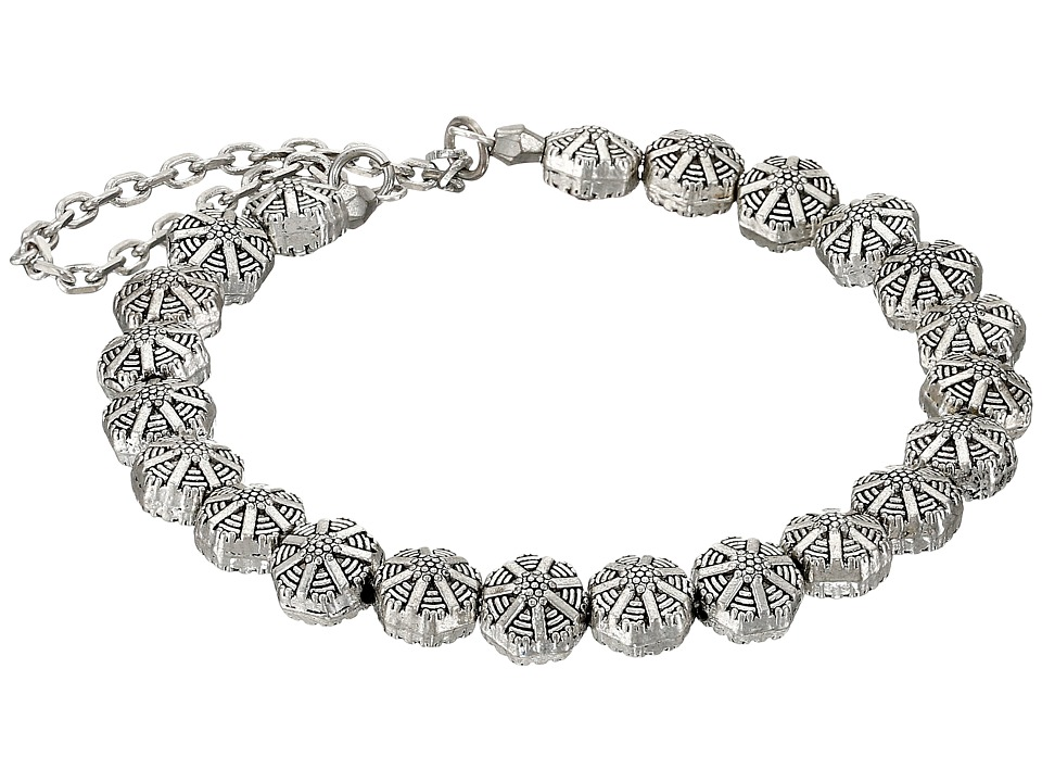 Vanessa Mooney - The Swan Round Bead Chain Cuff Bracelet (Silver) Bracelet
