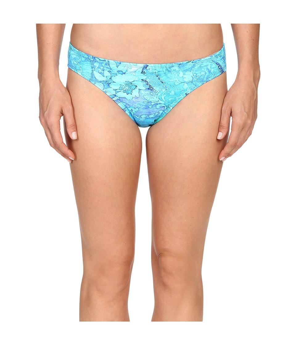LAUREN Ralph Lauren - Oceania Floral Print Hipster w/ Logo Plate (Blue Multi) Women's Swimwear