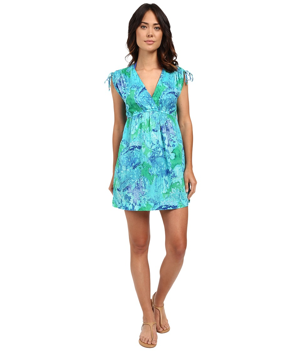 LAUREN Ralph Lauren - Oceania Floral Farrah Dress Crushed Cotton Cover-Up (Blue Multi) Women's Swimwear