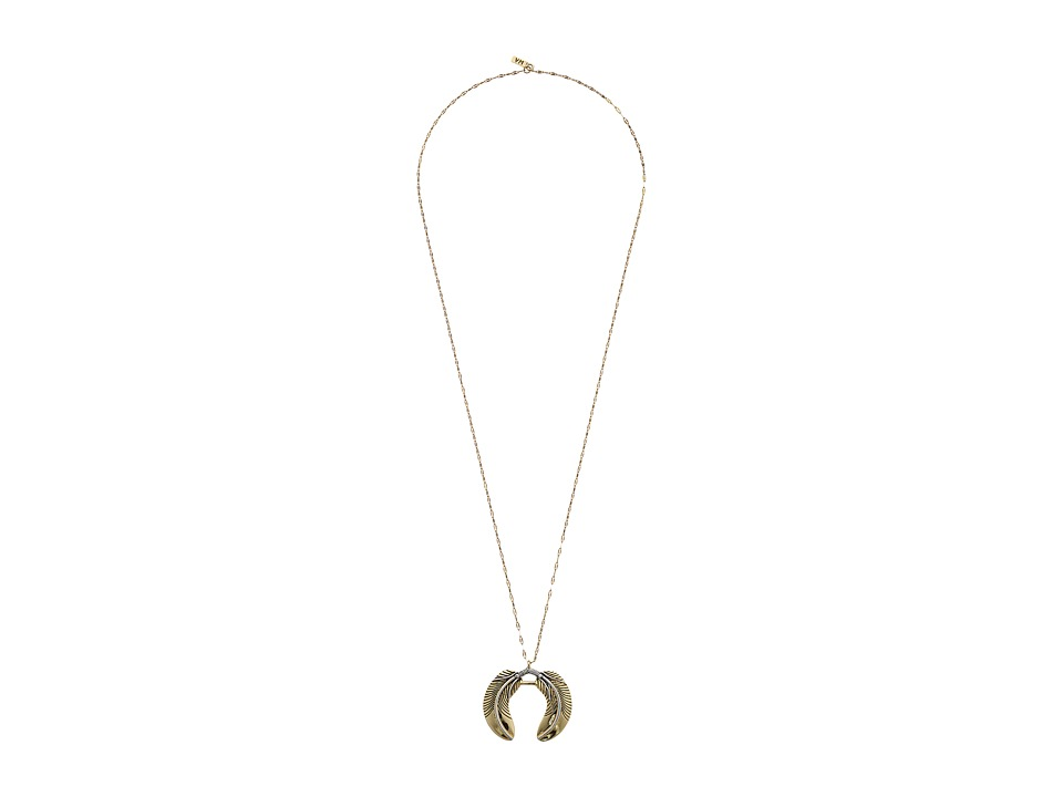Vanessa Mooney - The Honey-Rider Double Feather Necklace (Gold) Necklace