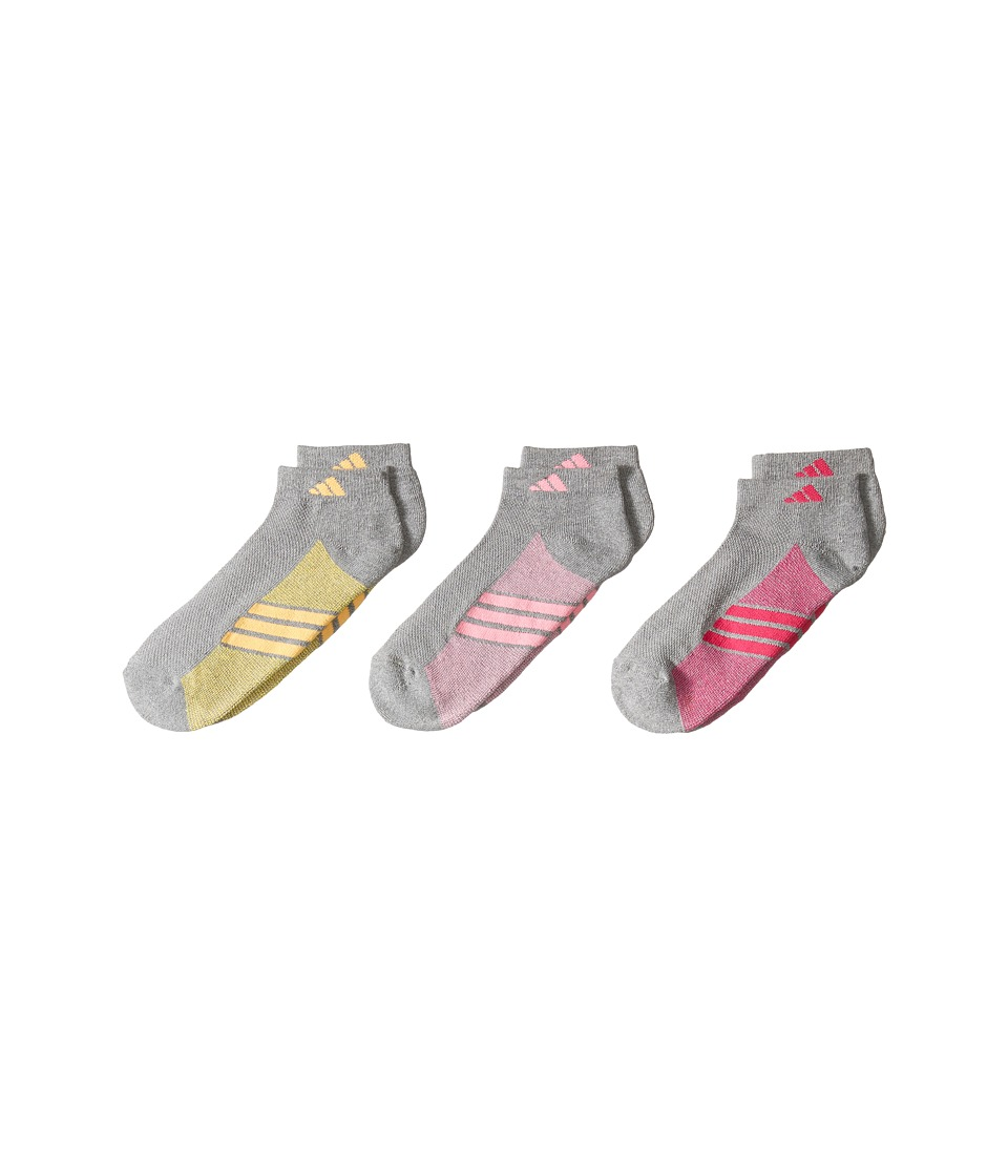 adidas Kids - Cushioned 3-Pack Low Cut (Big Kid/Adult) (Heather Light Onix/Pink Glow/Solar Gold/Shock Pink) Girls Shoes