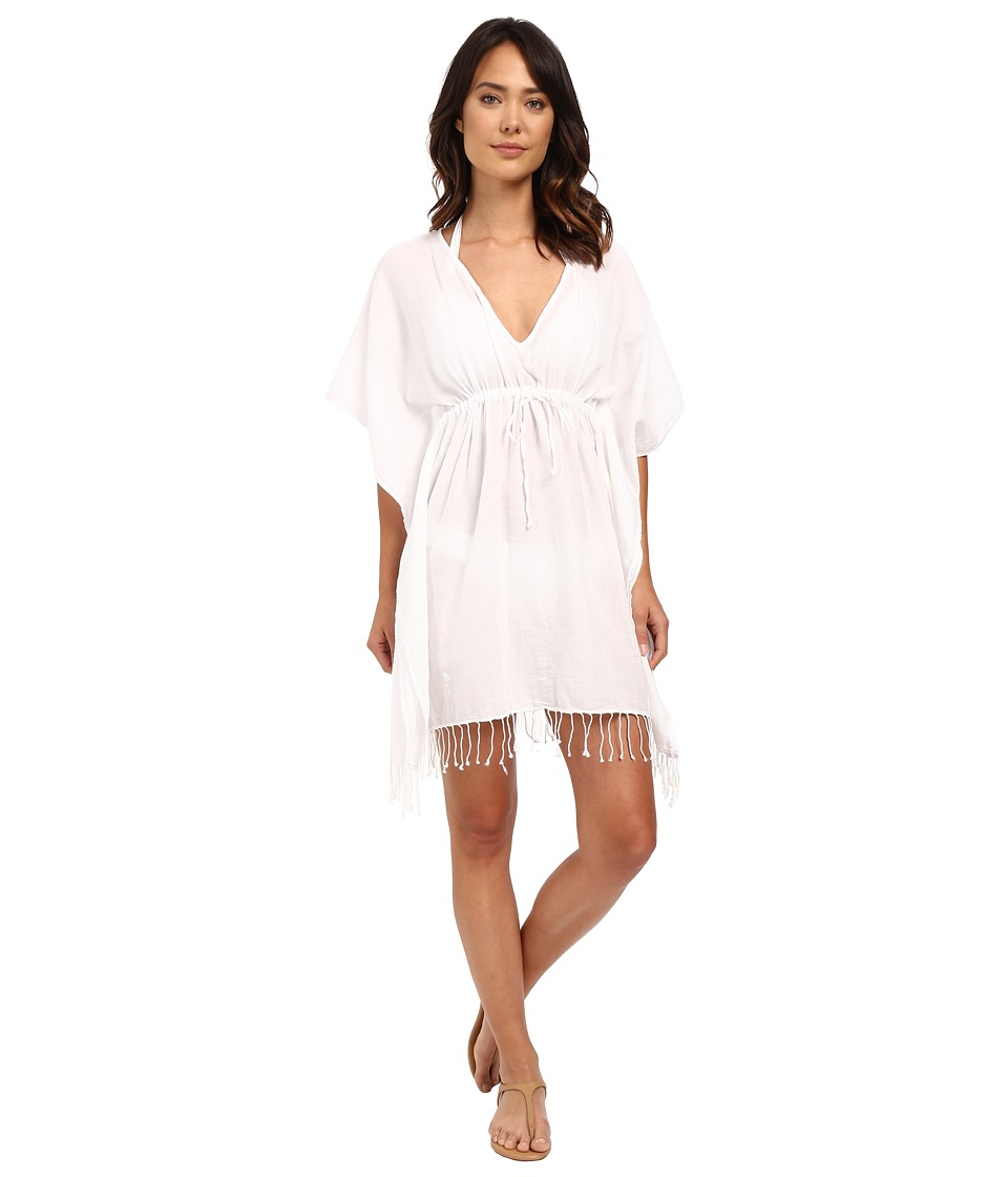 LAUREN Ralph Lauren - Fringed Cotton Tunic Cover-Up (White) Women's Swimwear