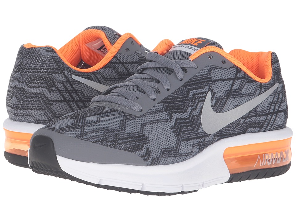 Nike Kids Air Max Sequent Print (Big Kid) (Cool Grey/Total Orange/White/Black) Boys Shoes