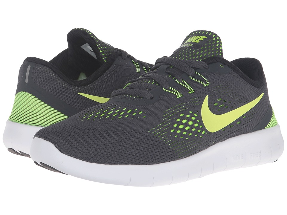 Nike Kids - Free RN (Big Kid) (Anthracite/Black/White/Volt) Boys Shoes
