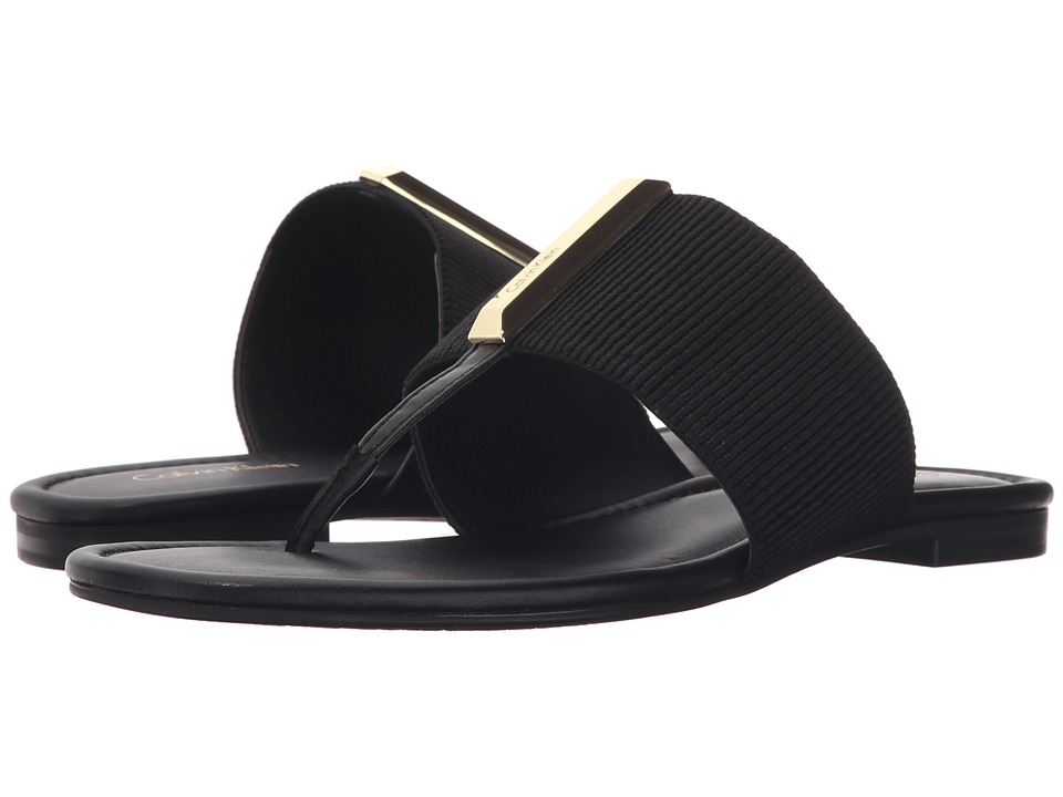 Calvin Klein - Bonni (Black Elastic/Leather) Women's Sandals
