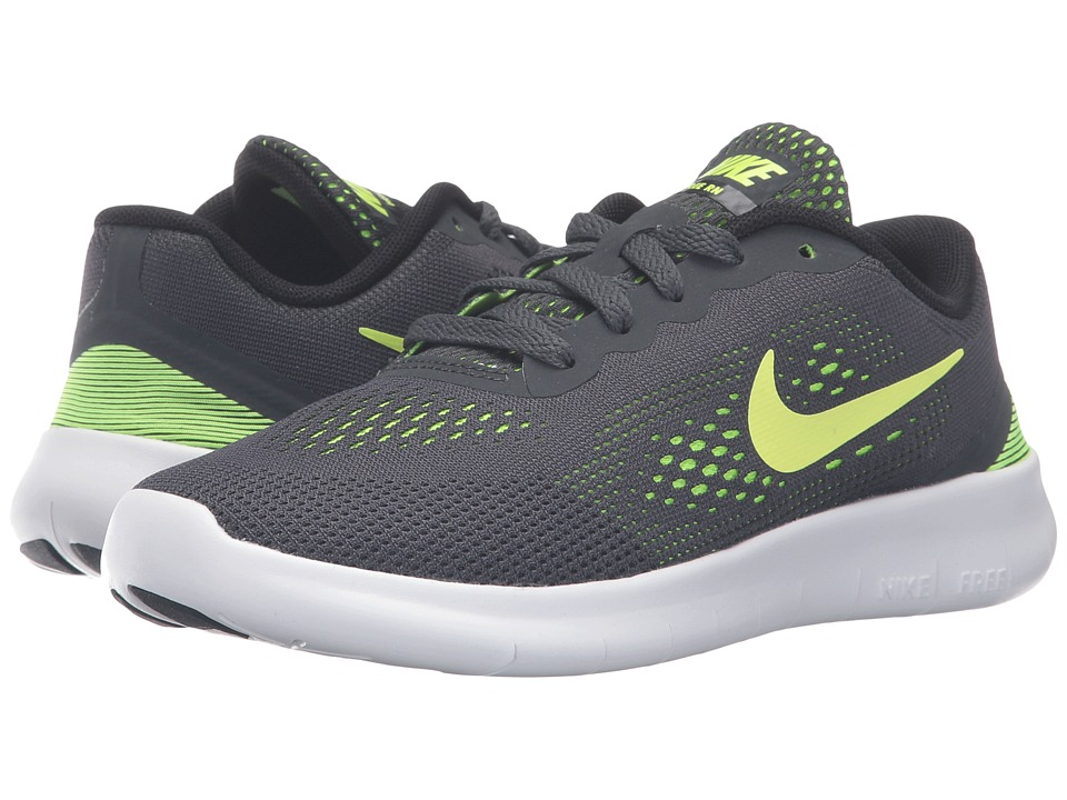 Nike Kids - Free RN (Little Kid) (Anthracite/Black/White/Volt) Boys Shoes