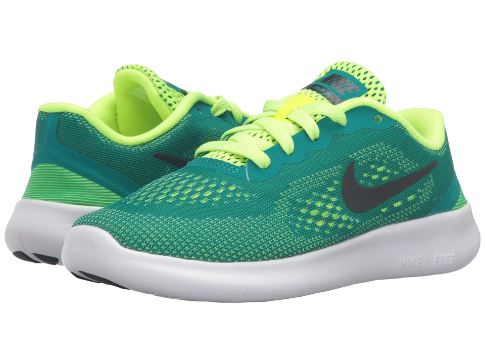 Nike Kids - Free RN (Little Kid) (Rio Teal/Volt/White/Black) Boys Shoes