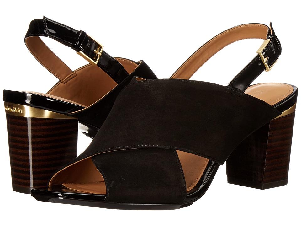 Calvin Klein - Cindya (Black Nubuck/Patent) High Heels