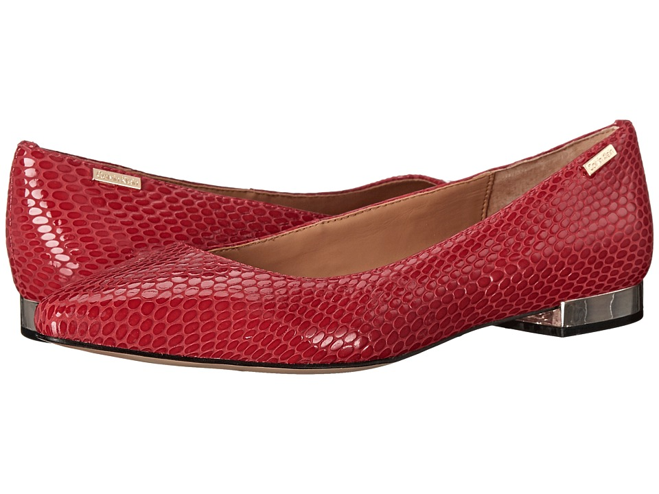 Calvin Klein - Ellasandra (Lipstick Red Laquered Snake Print Leather) Women