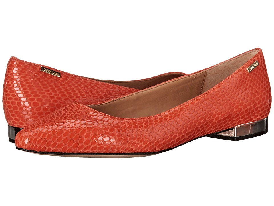 Calvin Klein - Ellasandra (Orange Laquer Laquered Snake Print Leather) Women