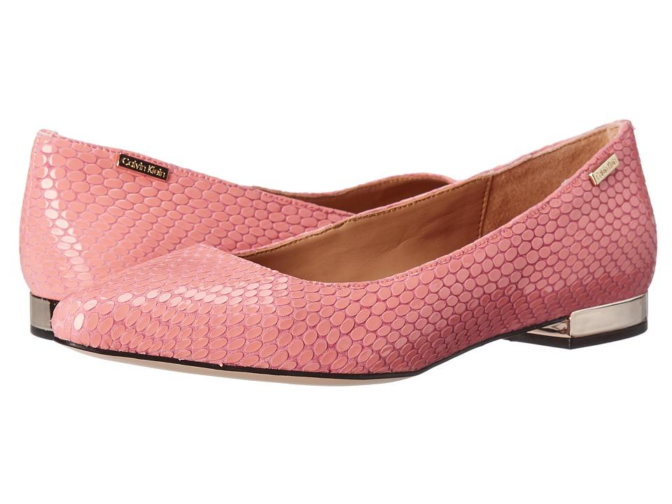 Calvin Klein - Ellasandra (Salmon Rose Laquered Snake Print Leather) Women's Dress Flat Shoes