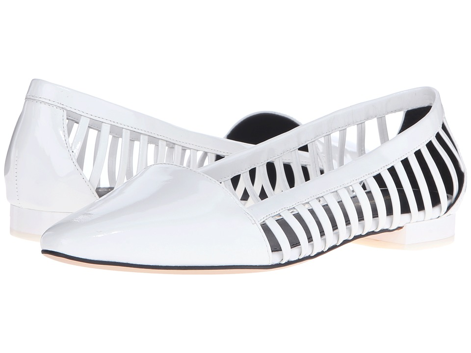 Calvin Klein - Elouise (Platinum White Patent) Women's Flat Shoes