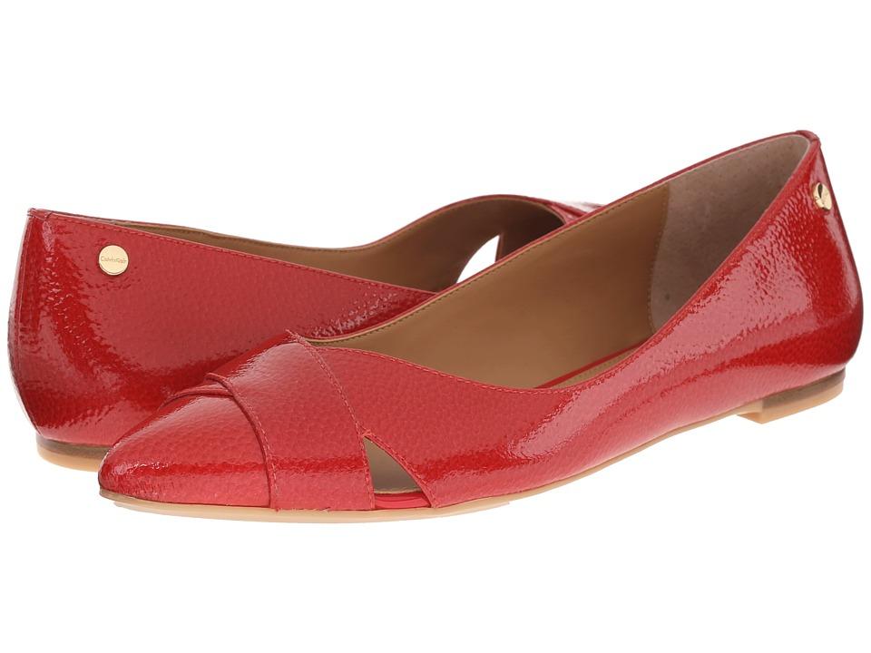 Calvin Klein - Gailia (Lipstick Red Tumbled Patent) Women's Dress Flat Shoes