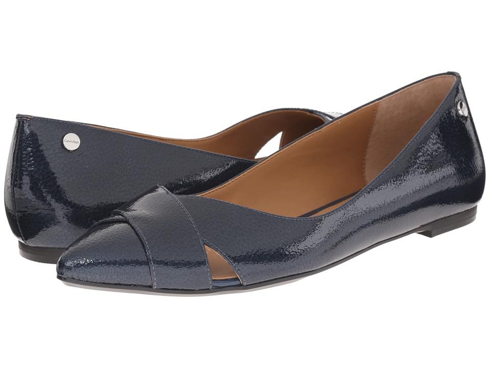 Calvin Klein - Gailia (Marine Tumbled Patent) Women's Dress Flat Shoes
