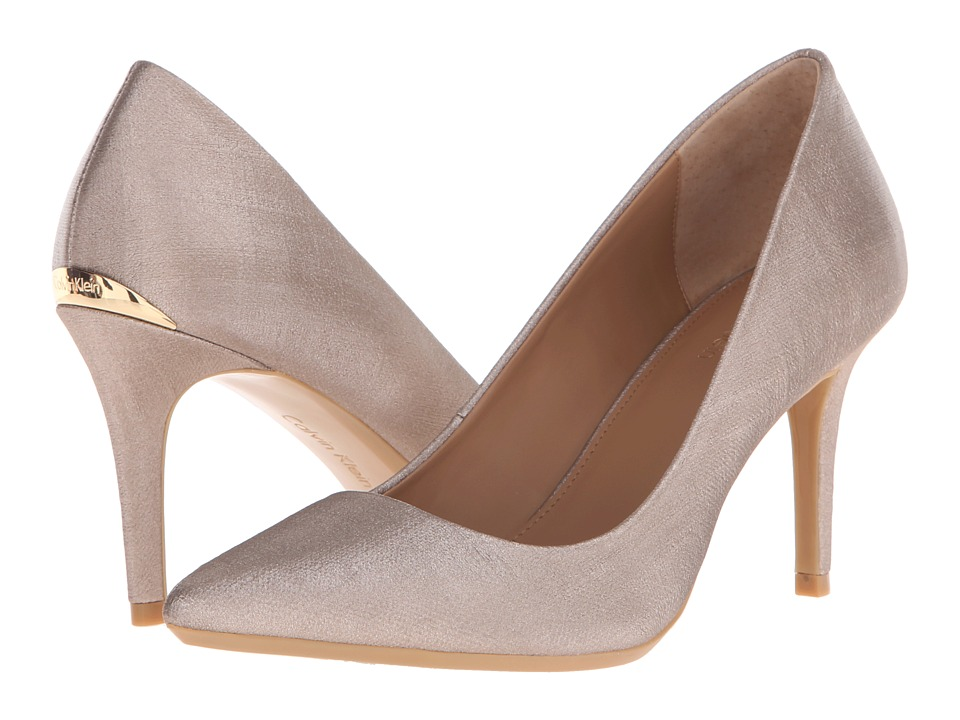 Calvin Klein - Gayle (Soft Platinum Coated Matte Linen) High Heels