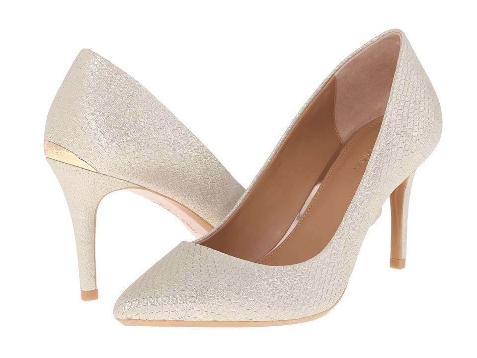 Calvin Klein - Gayle (Platino Powdered Snake Print Leather) High Heels