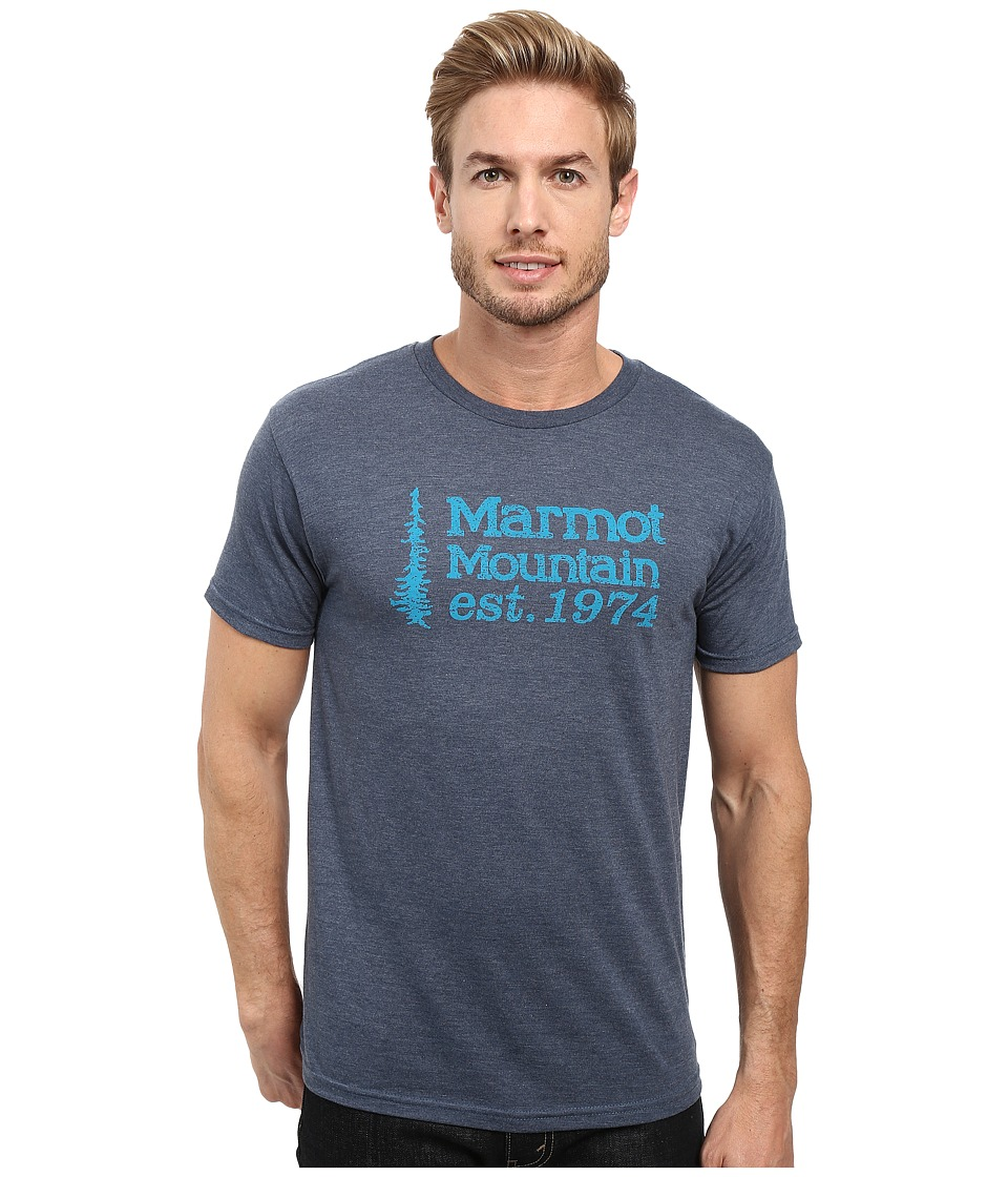 Marmot - 74 Short Sleeve Tee (Navy Heather) Men's T Shirt