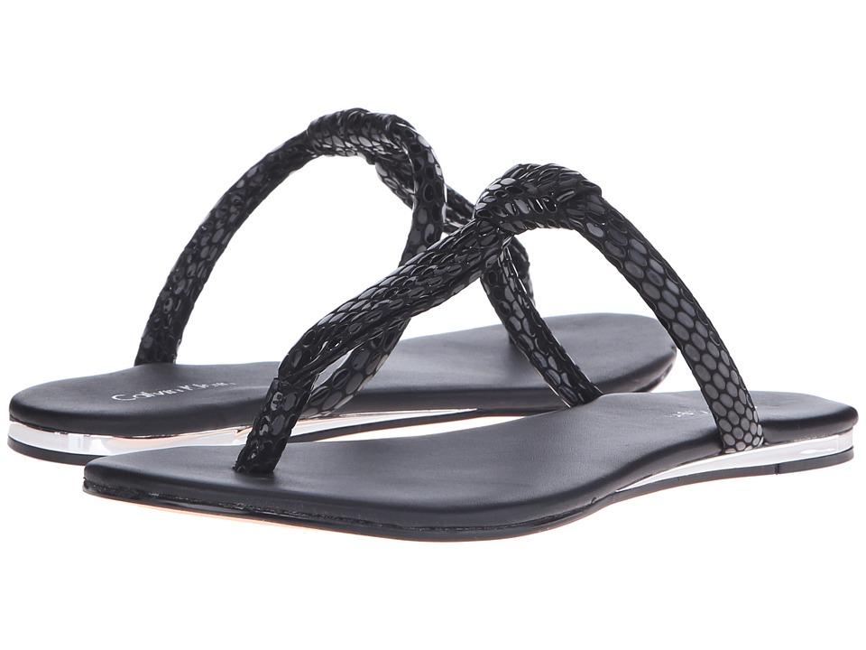 Calvin Klein Harla (Black Laquered Snake Print Leather) Women