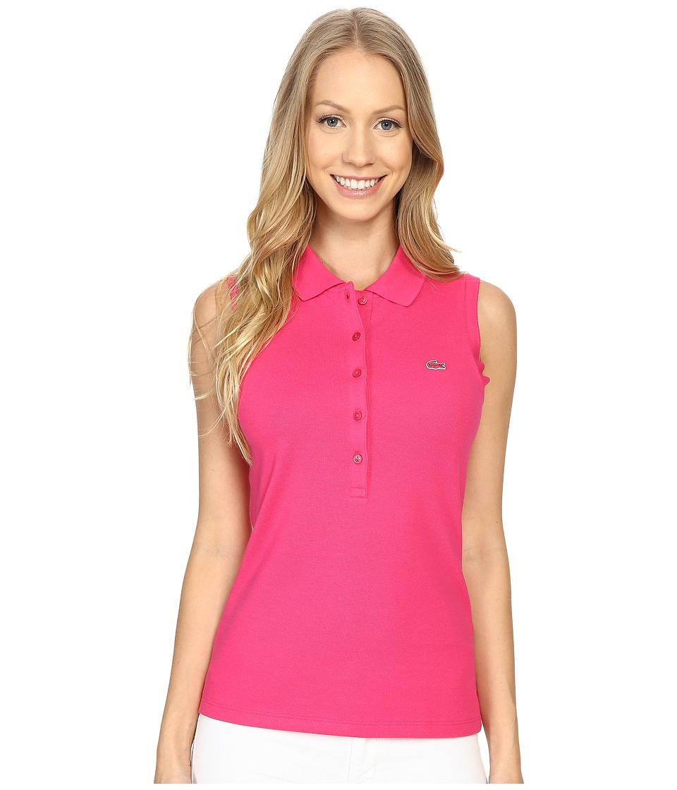 Lacoste - Sleeveless Slim Fit Stretch Pique Polo (Bright Berry Pink) Women's Short Sleeve Pullover