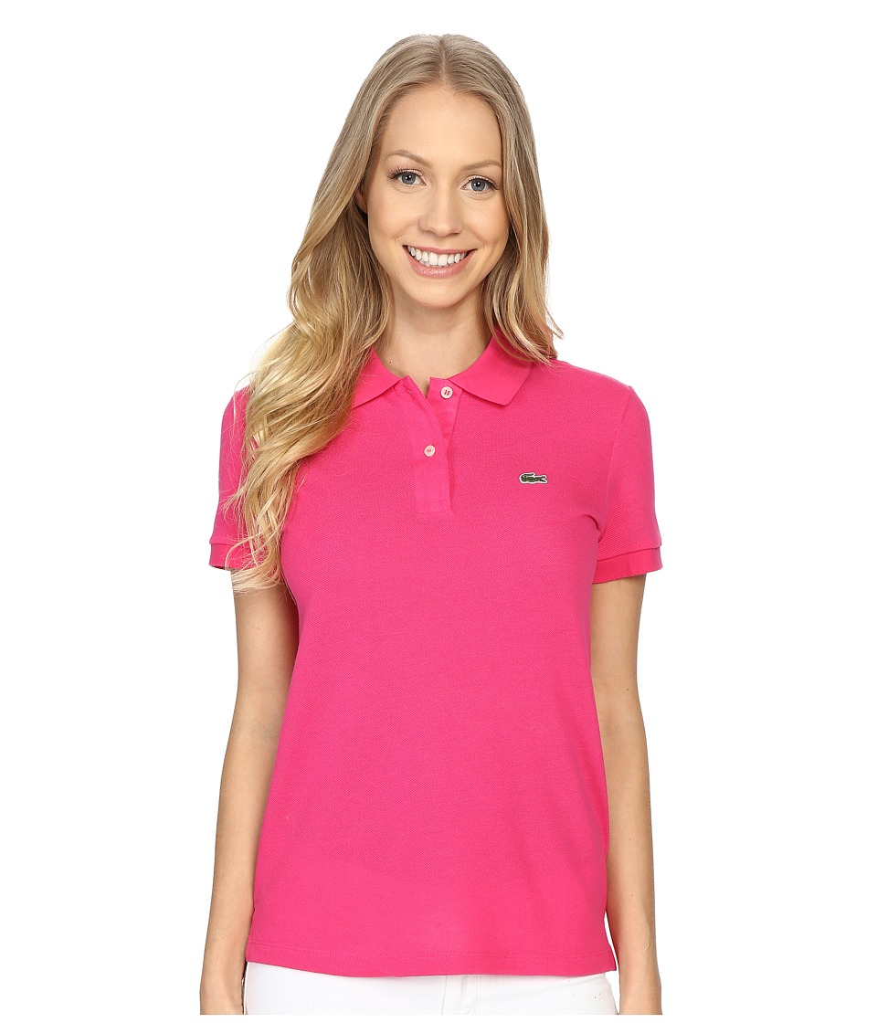 Lacoste - Short Sleeve Classic Fit Pique Polo (Bright Berry Pink) Women's Short Sleeve Pullover