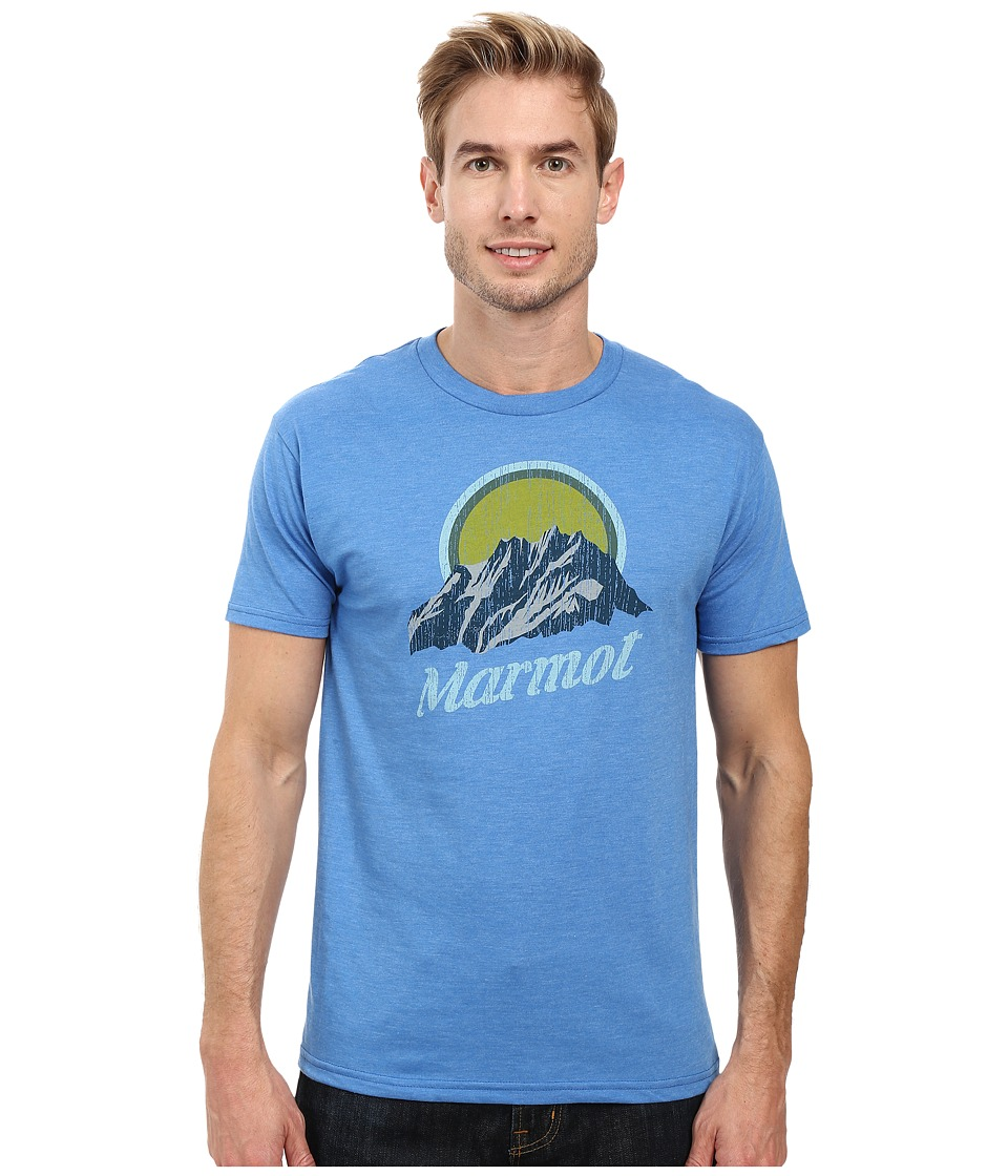 Marmot - Pikes Peak Short Sleeve Tee (Royal Heather) Men's Clothing