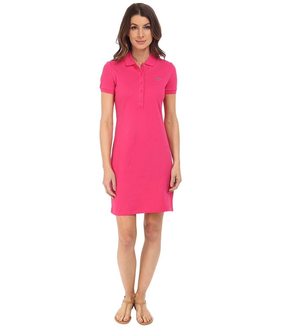 Lacoste - Short Sleeve Pique Polo Dress (Bright Berry Pink) Women's Dress