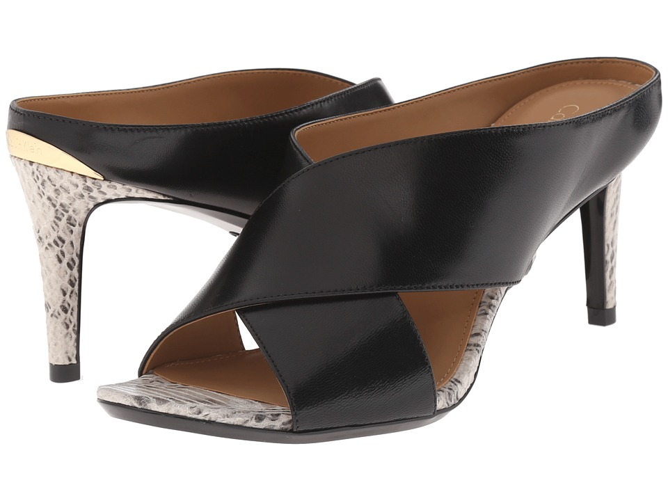 Calvin Klein - Luce (Black Leather/Muted Snake Print Leather) High Heels