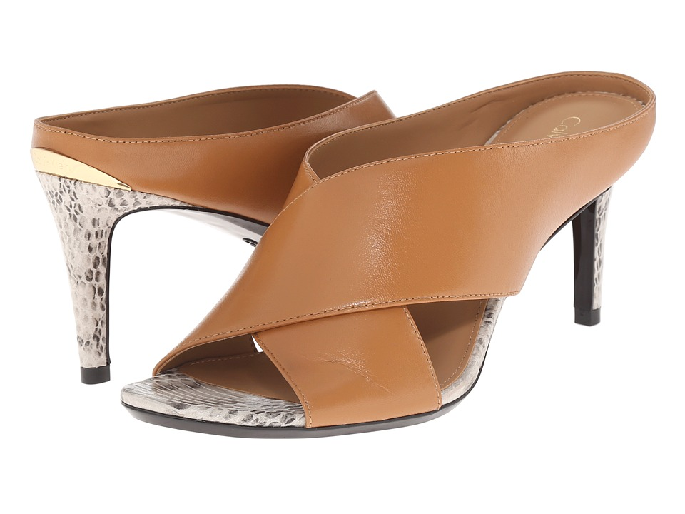 Calvin Klein - Luce (Almond Tan Leather/Muted Snake Print Leather) High Heels