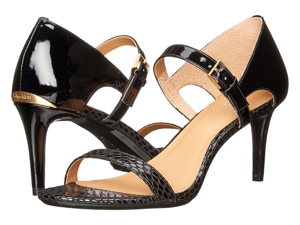 Calvin Klein Luigina (Black Laquered Snake/Patent) High Heels