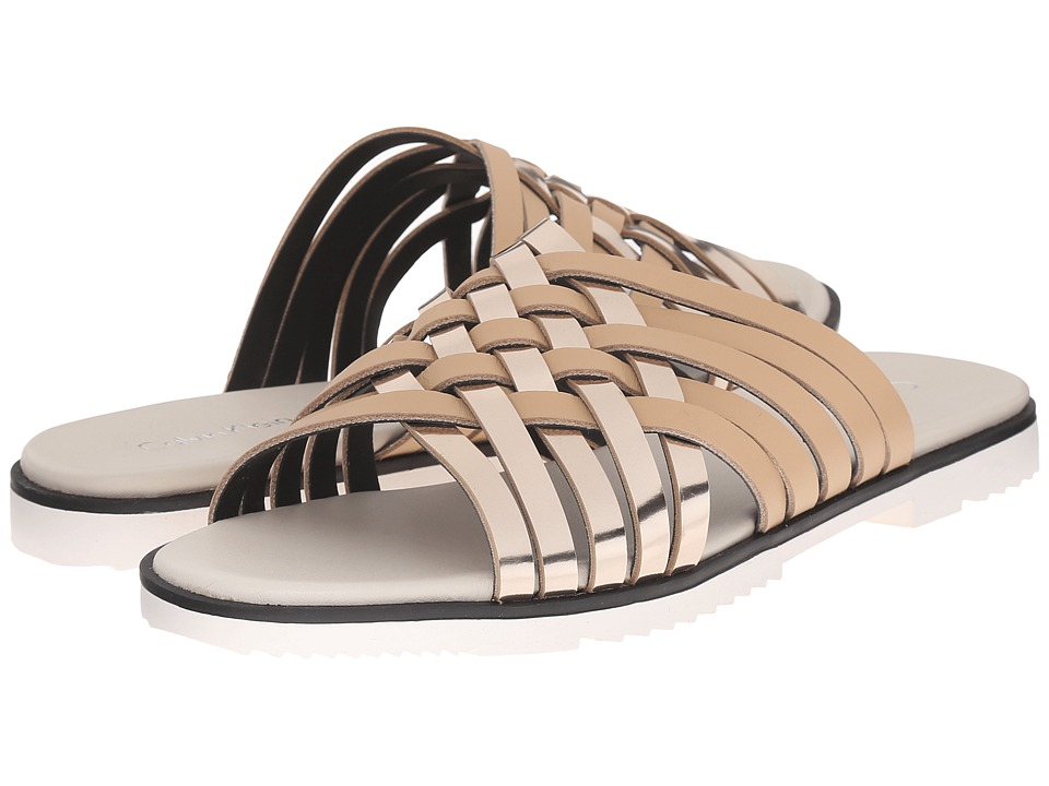 Calvin Klein Marimba Soft Platinum-Sandstorm Metallic Box-Leather Womens Slide Shoes
