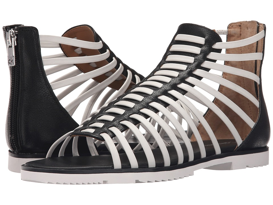 Calvin Klein - Maze (Black/White Leather) Women's Sandals