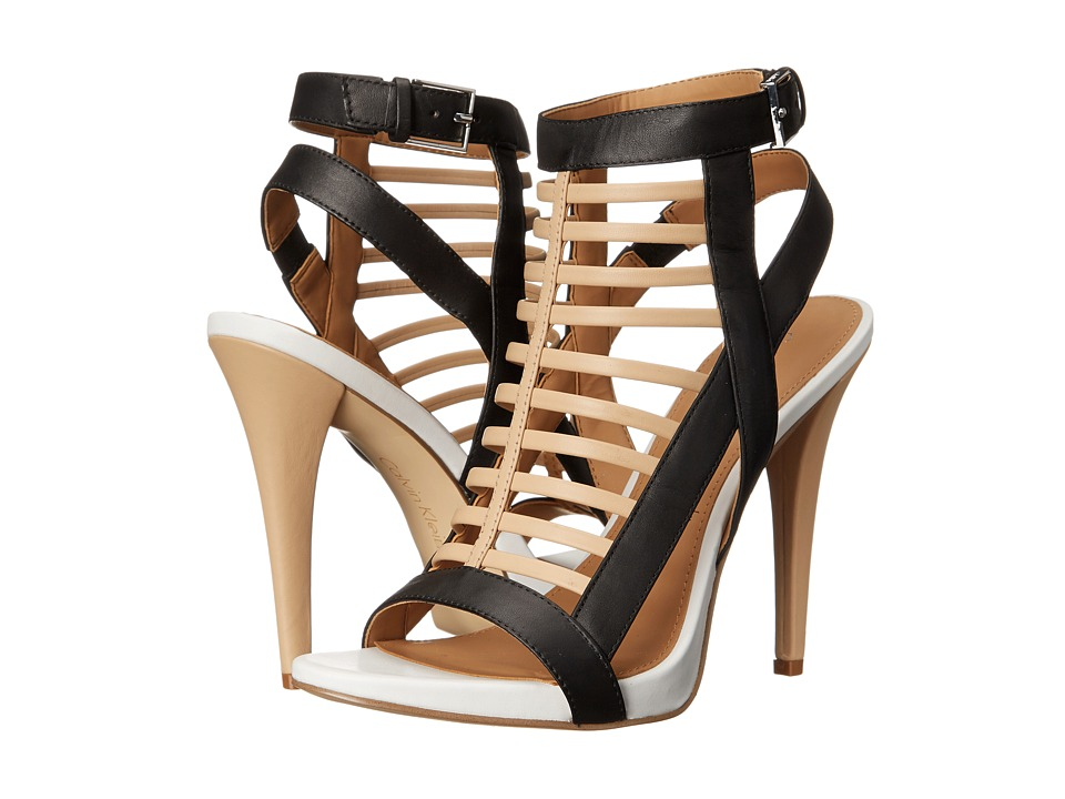 Calvin Klein - Nalo (Sand/Black/Platinum White Leather) High Heels