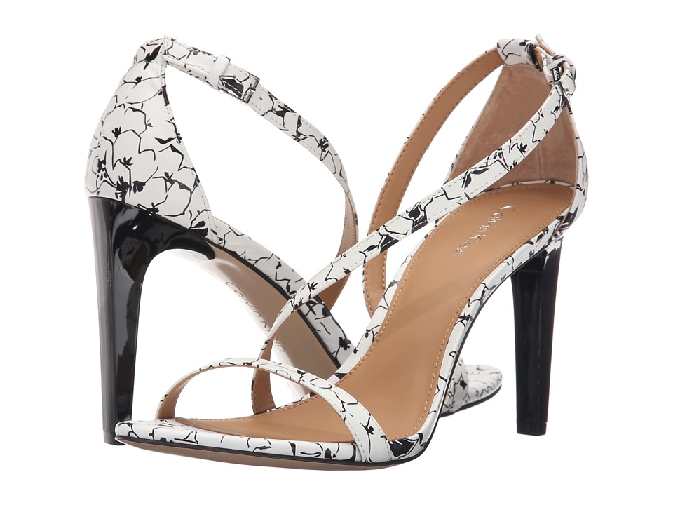 Calvin Klein - Narella (White/Black Graphic Flower Leather) High Heels
