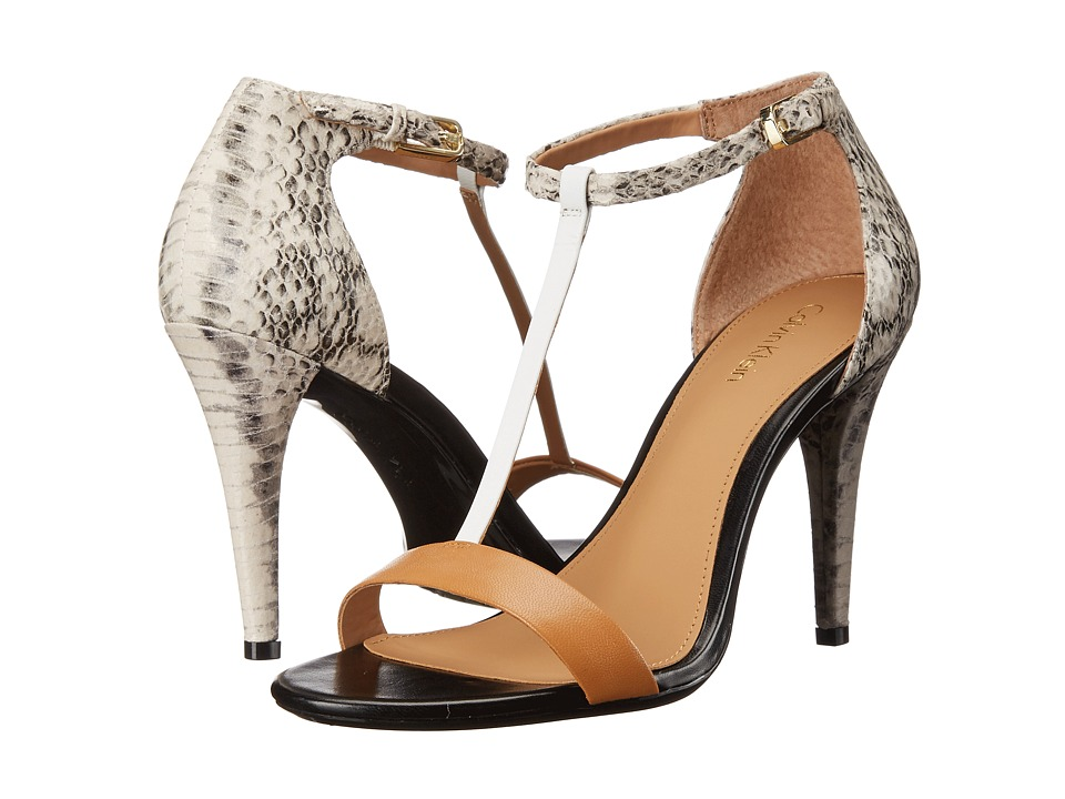 Calvin Klein - Nasi (Almond Tan/White Kid Skin/Muted Snake Print Leather) High Heels