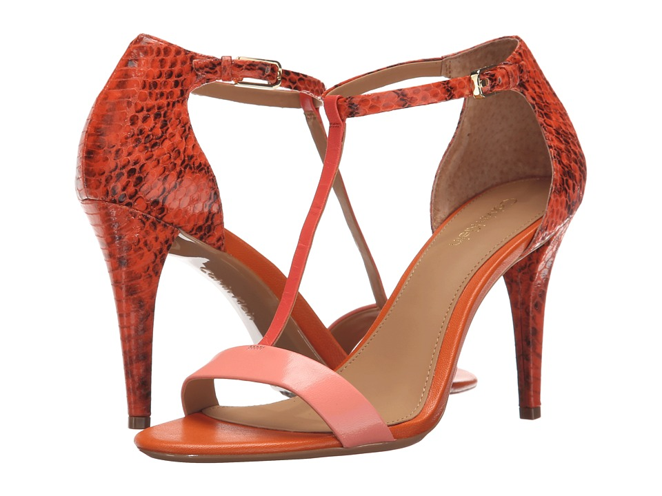 Calvin Klein - Nasi (Salmon Rose/Coral/Orange Kid Skin/Muted Snake Print Leather) High Heels