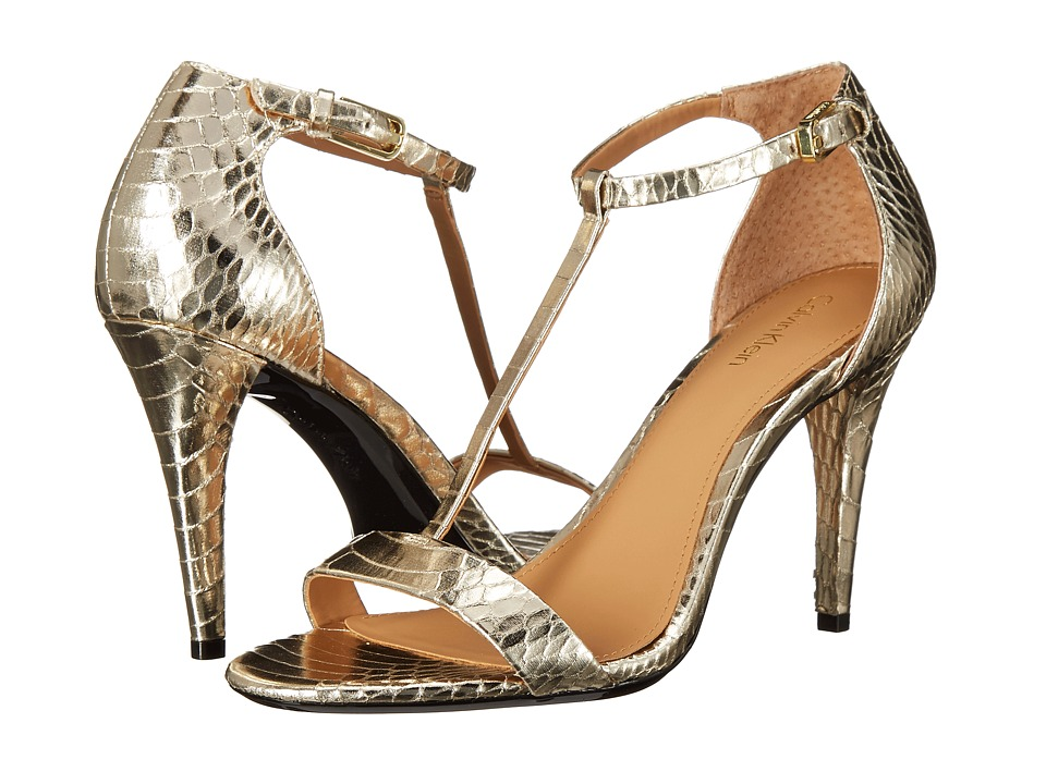 Calvin Klein - Nasi (Platino Metallic Snake Print Leather) High Heels