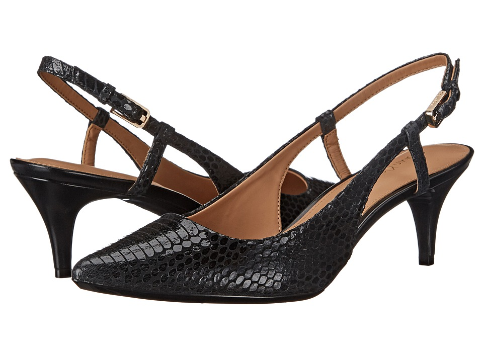 Calvin Klein - Patsi (Black Muted Snake Print Leather) High Heels